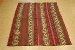 Antique Caucasian Soumak Kilim Flat Woven Rug 4.2x5.5