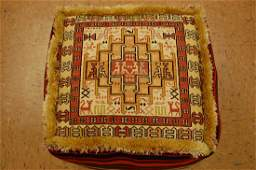Detailed Silk Sumak Kilim Rug Wool Cushion 1.8x1.8x1.3