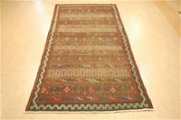 Antique Caucasian Soumak Kilim Flat Woven Rug 4.2x9.6