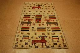 Antique Persian Shiraz Gabbeh Rug 3.3x6.10