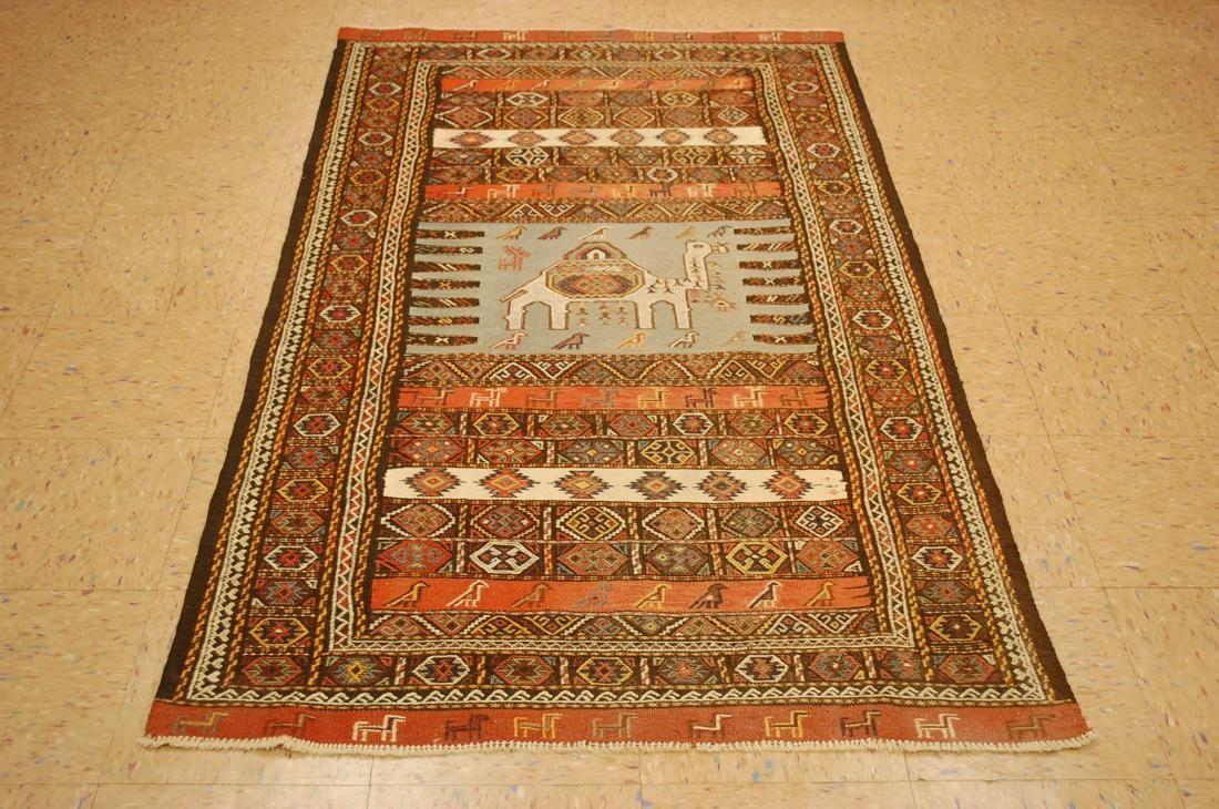 Antique Caucasian Soumak Kilim Flat Woven Rug 3.7x6.4