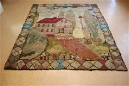 Antique Folk Art American Hooked Rug 6x7