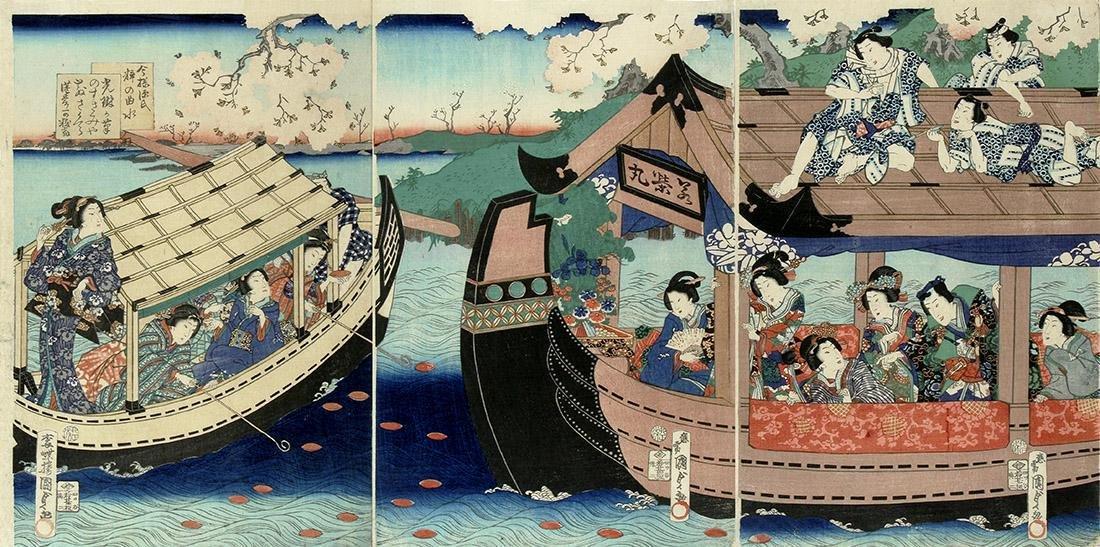 Utagawa Kunisada II Woodblock Winding-stream Party