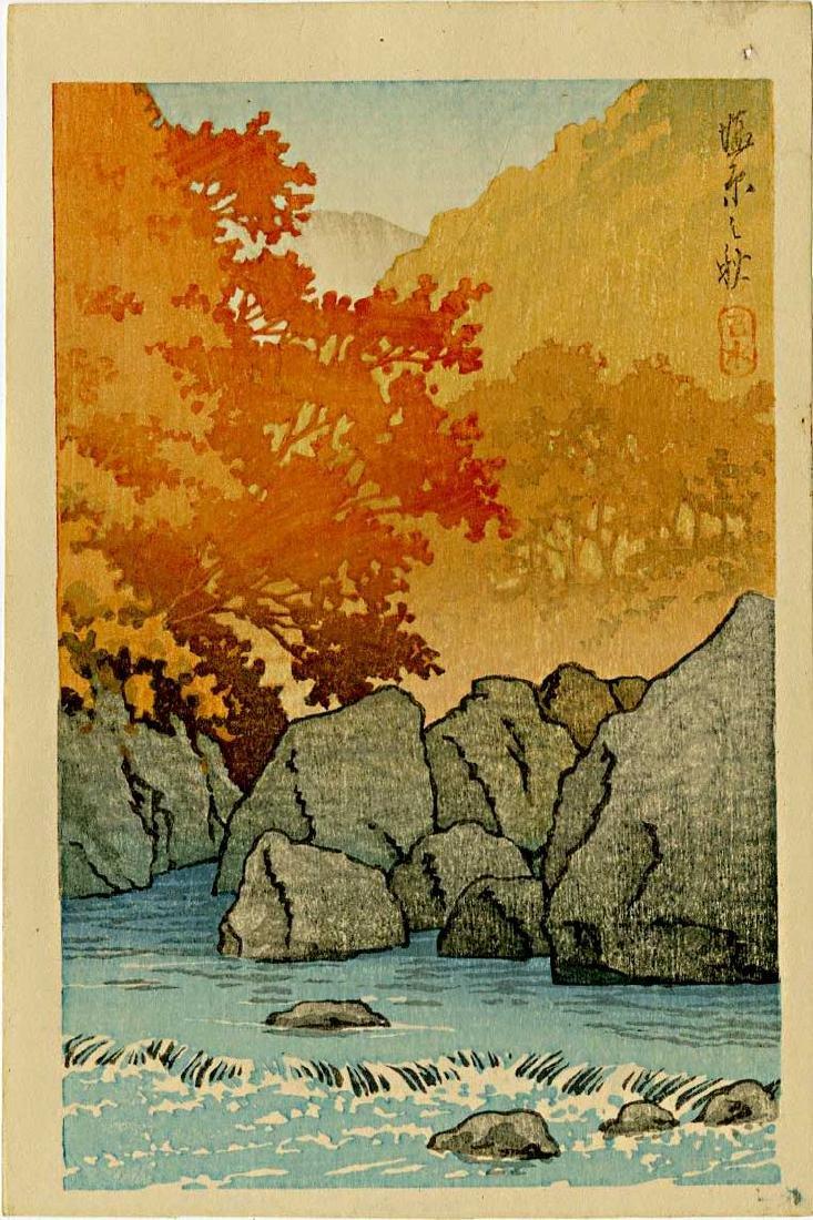 Hasui Kawase Woodblock Autumn at Shiobara