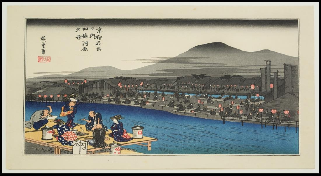 Ando Hiroshige Woodblock Enjoying the Cool Evening