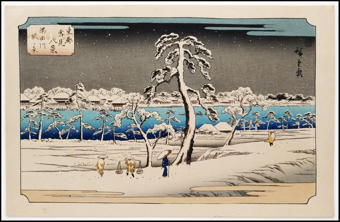 Ando Hiroshige Woodblock Sumida River Shore