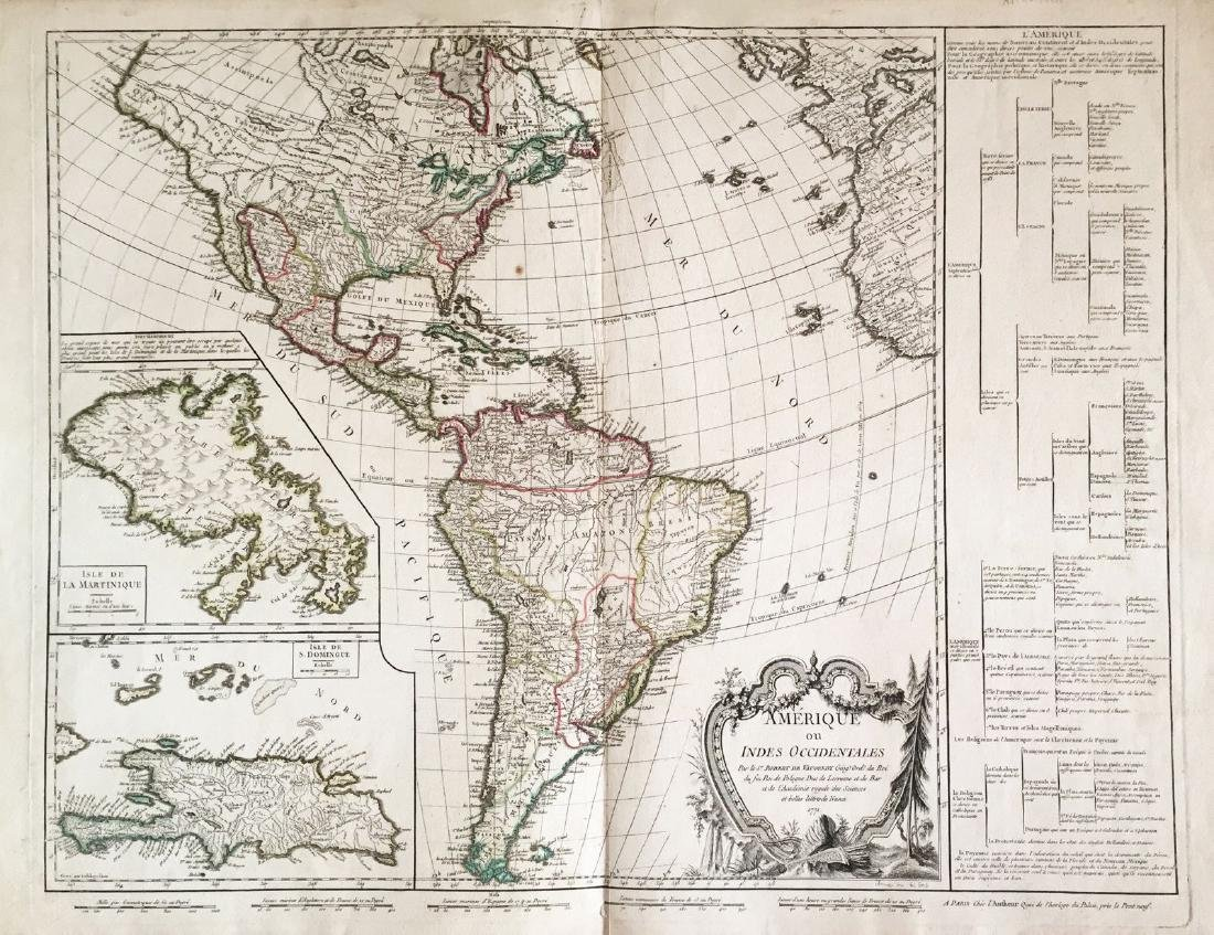 de Vaugondy: Americas with Caribbean insets