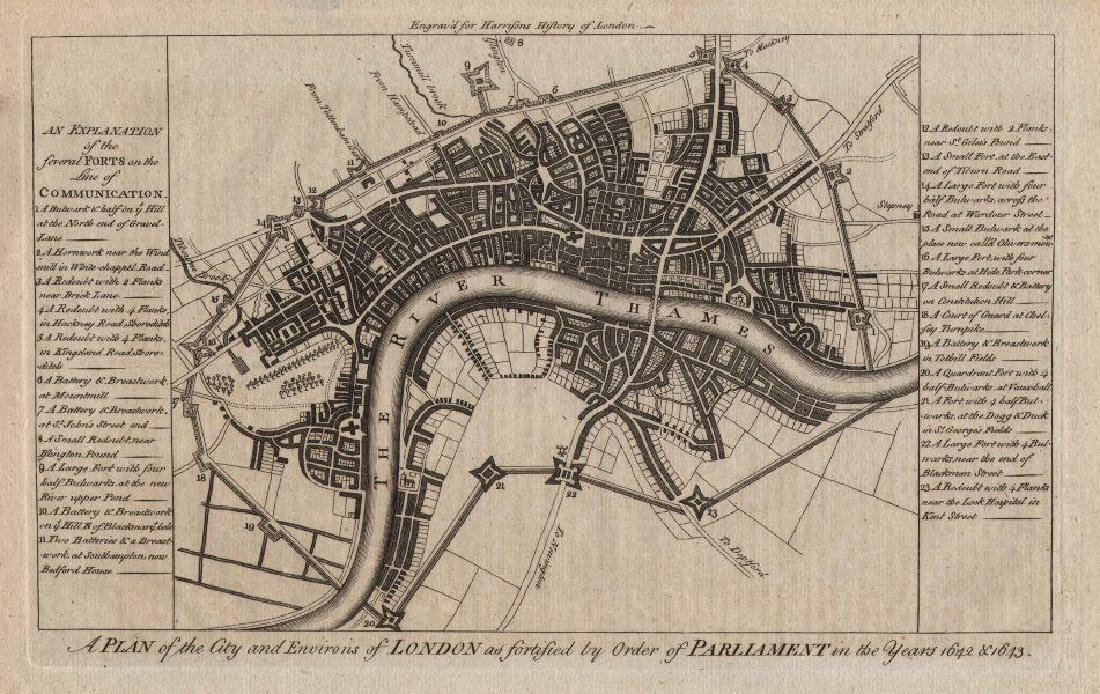 Civil War plan of London as fortified by Parliament in