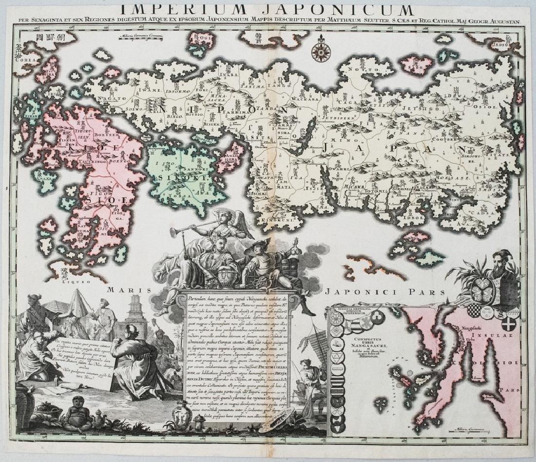 1740 Seutter Map of Japan -- Imperium Japonicum per