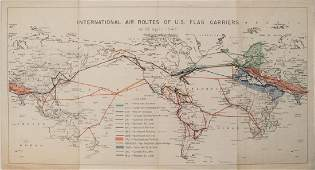 1947 World Route Map of US Flag Airlines --