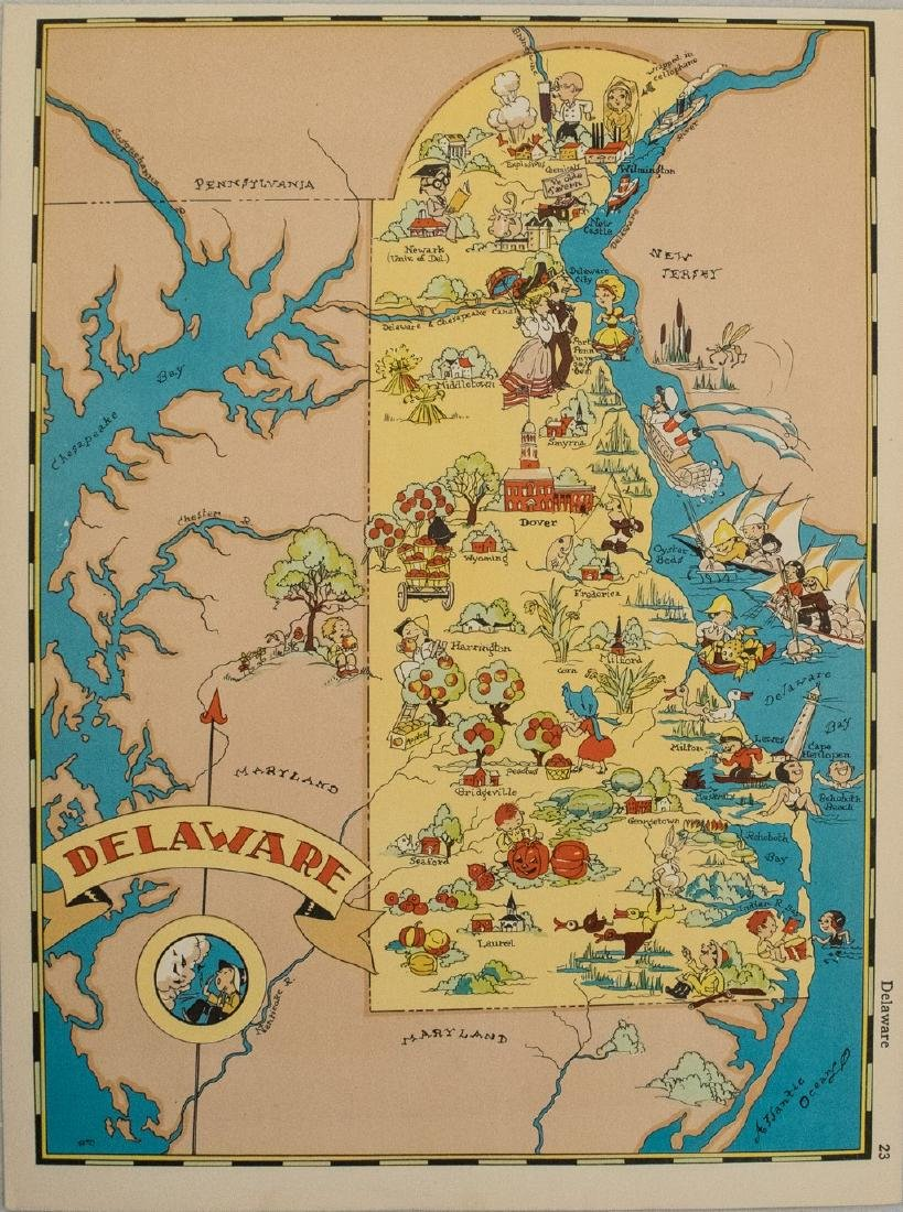 1938 R Taylor White Pictorial Map of Deleware --