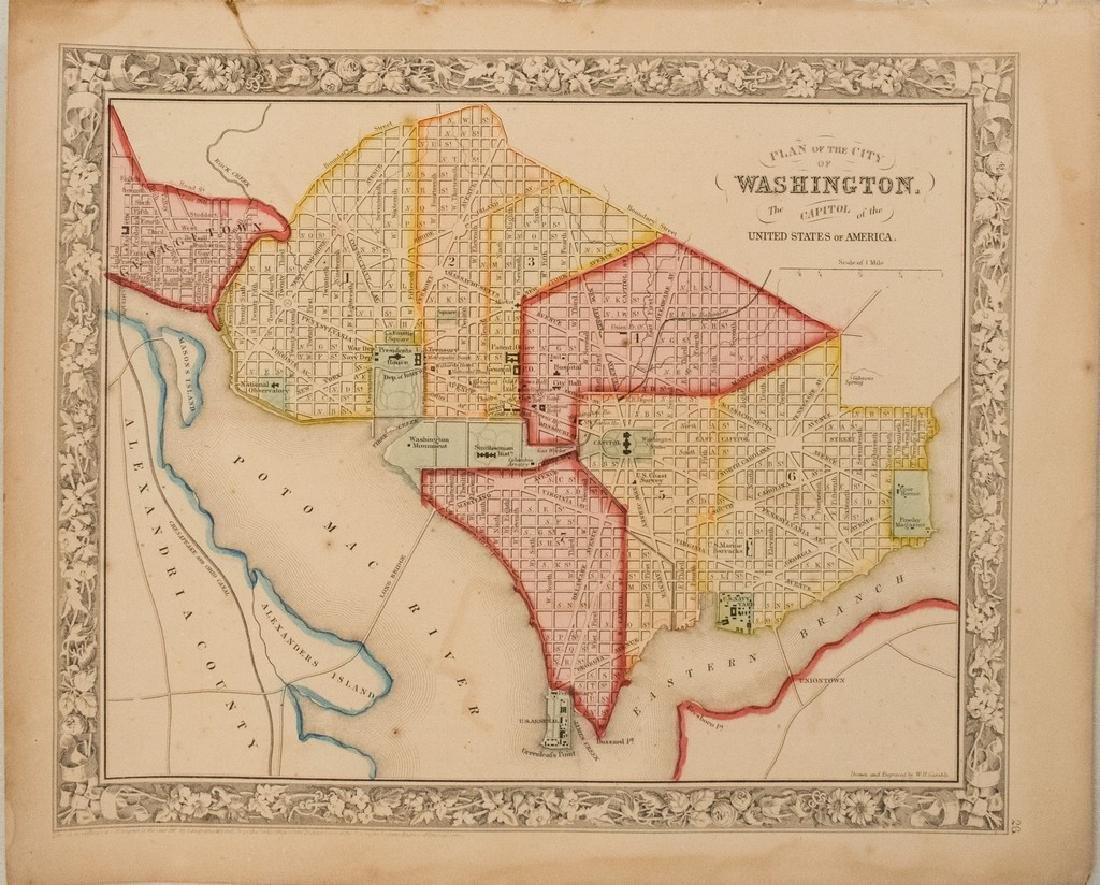 1863 Mitchell Map of Washington -- Plan of the City of