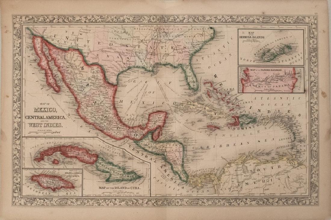 1860 Mitchell Map of the Caribbean and Mexico -- Map of