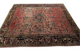 Antique Persian Sarouk Mohajeran Rug Signed 7.10x10.2