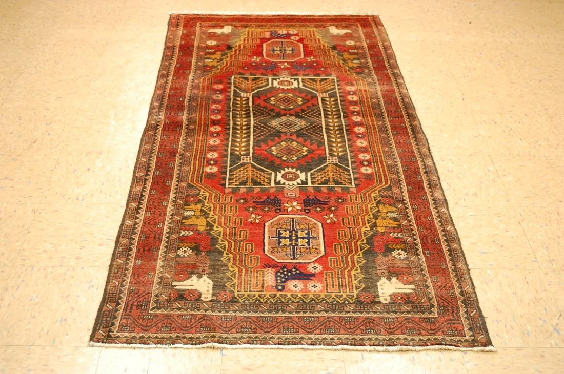 Detailed Bird Subject Persian Balouch Rug 3.5x7.2