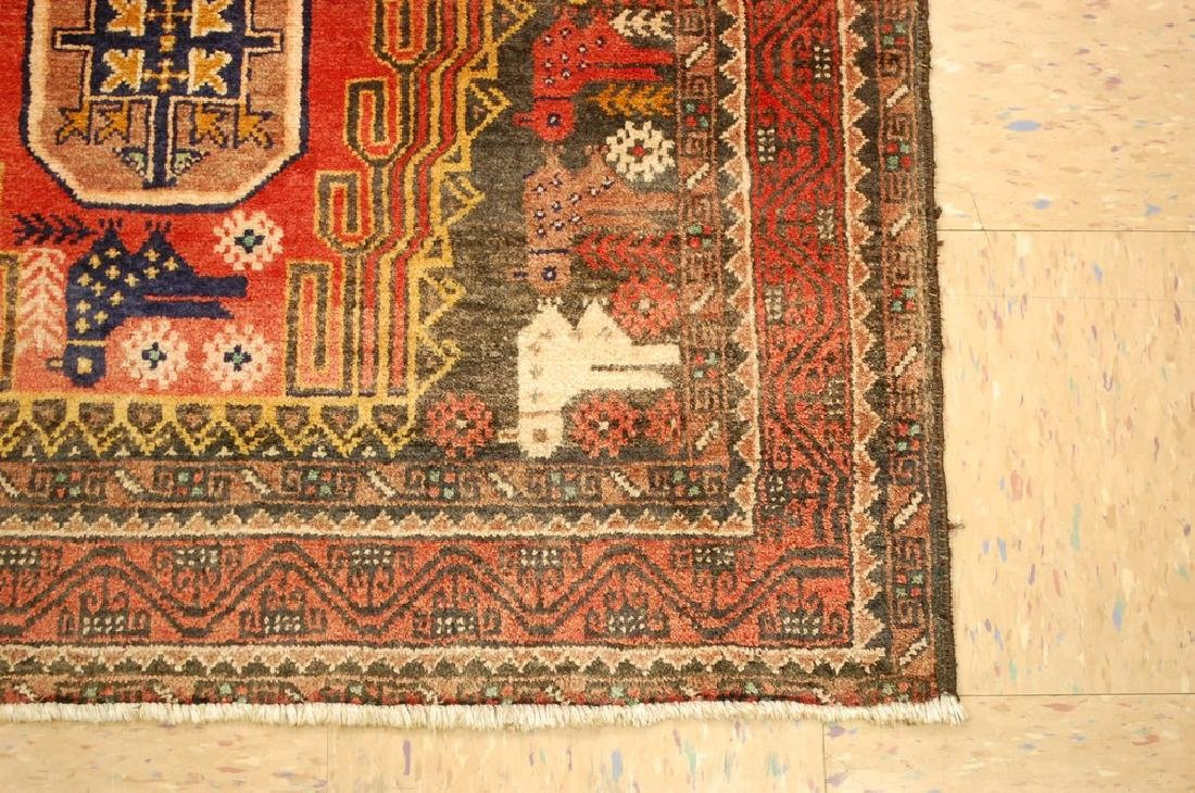 Detailed Bird Subject Persian Balouch Rug 3.5x7.2 - 2