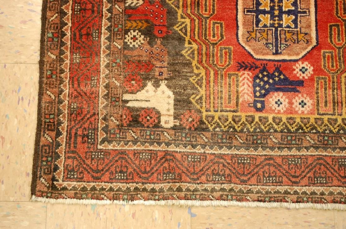 Detailed Bird Subject Persian Balouch Rug 3.5x7.2 - 3