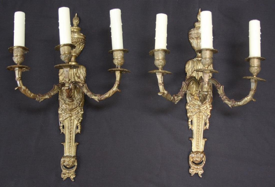 Pair of Three-Armed Antique French Bronze Sconces