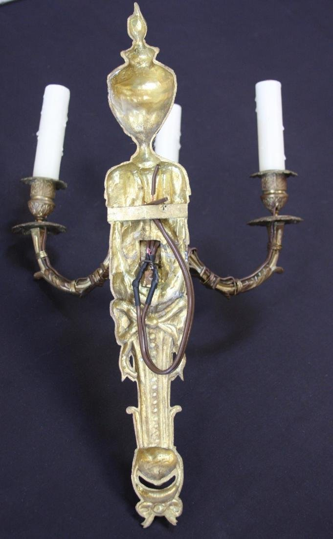 Pair of Three-Armed Antique French Bronze Sconces - 2
