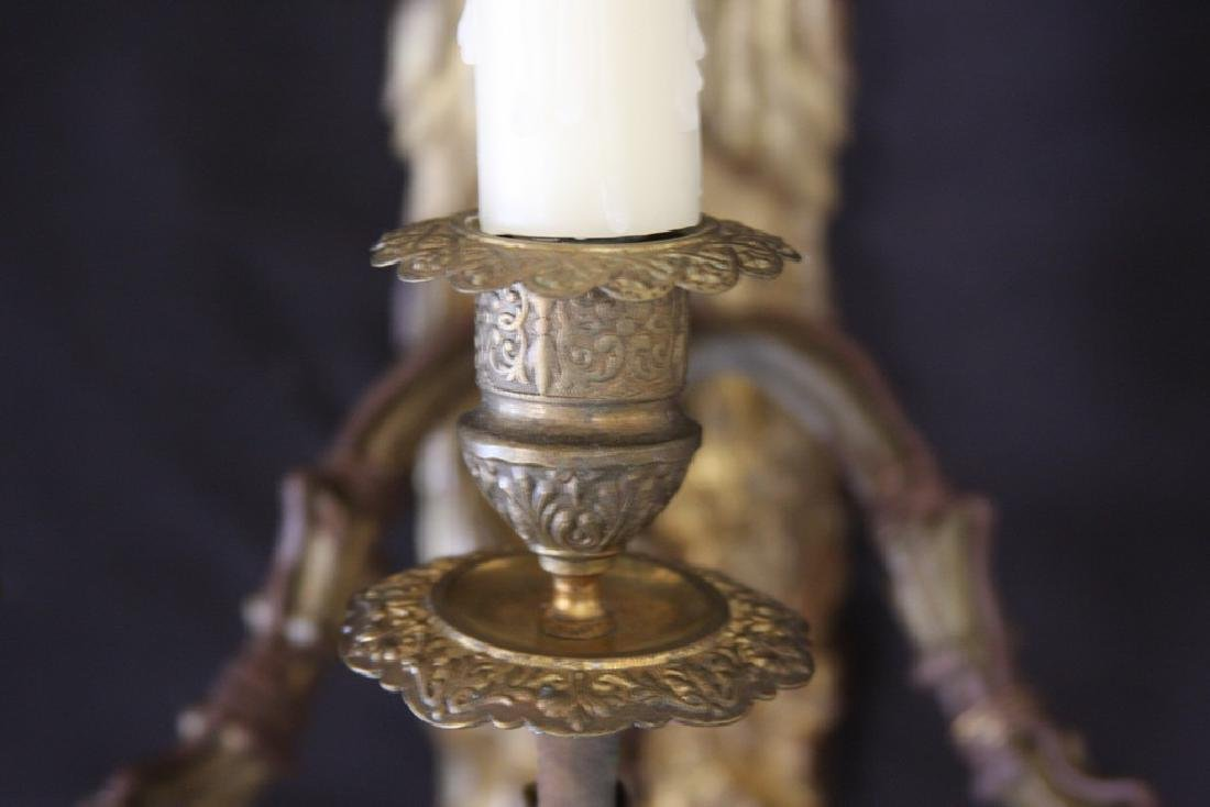 Pair of Three-Armed Antique French Bronze Sconces - 5