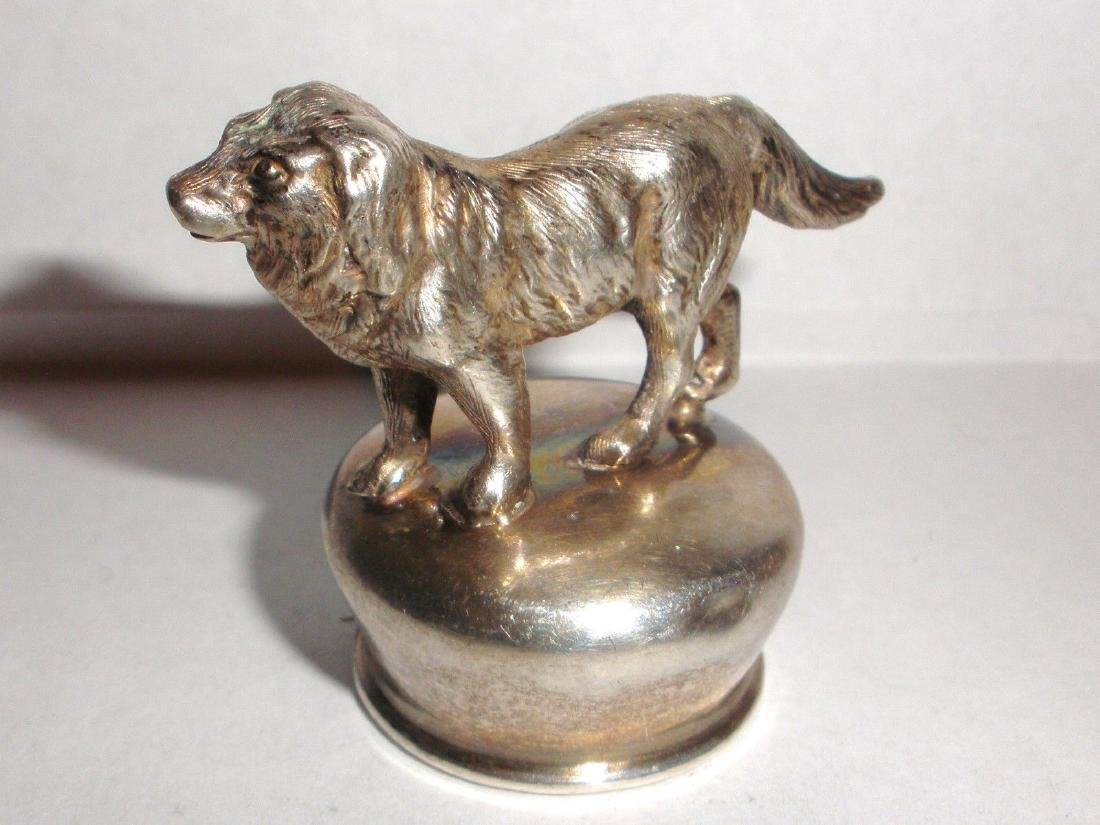 Antique sterling silver dog bottle figural top stopper