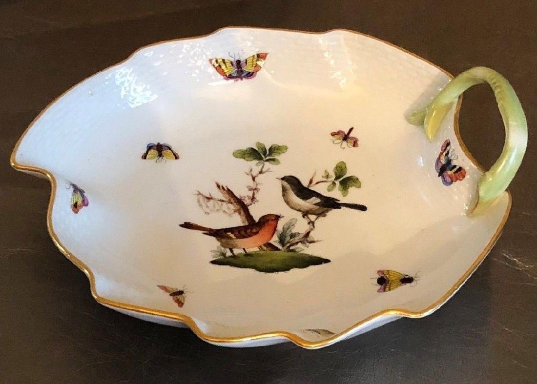 Herend Large Leaf Dish in Rothschild Bird Pattern