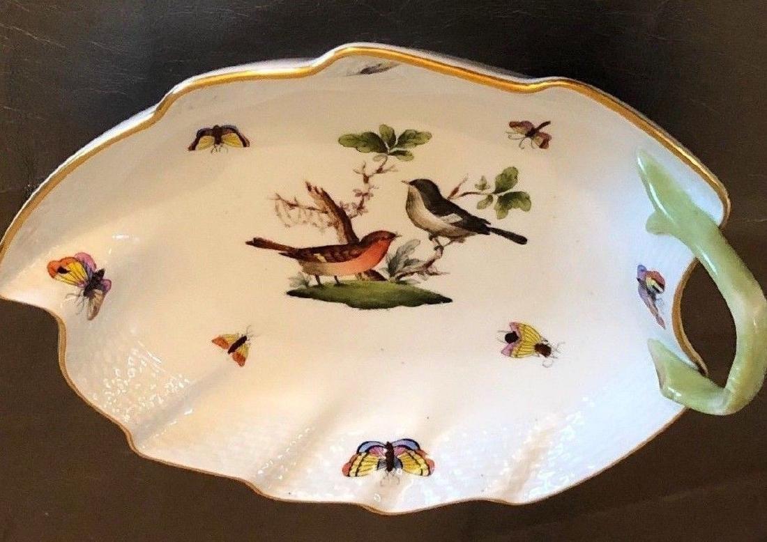 Herend Large Leaf Dish in Rothschild Bird Pattern - 5
