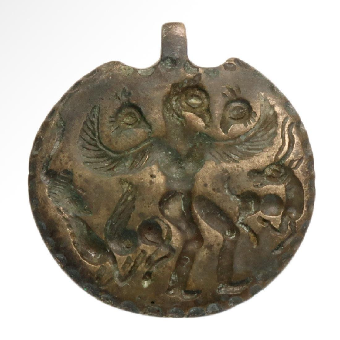 Persian Luristan Medallion with Eagle and Stags