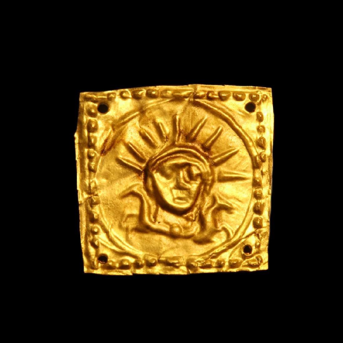 Greek Gold Ornament Plaque Helios Horses 5th C BC