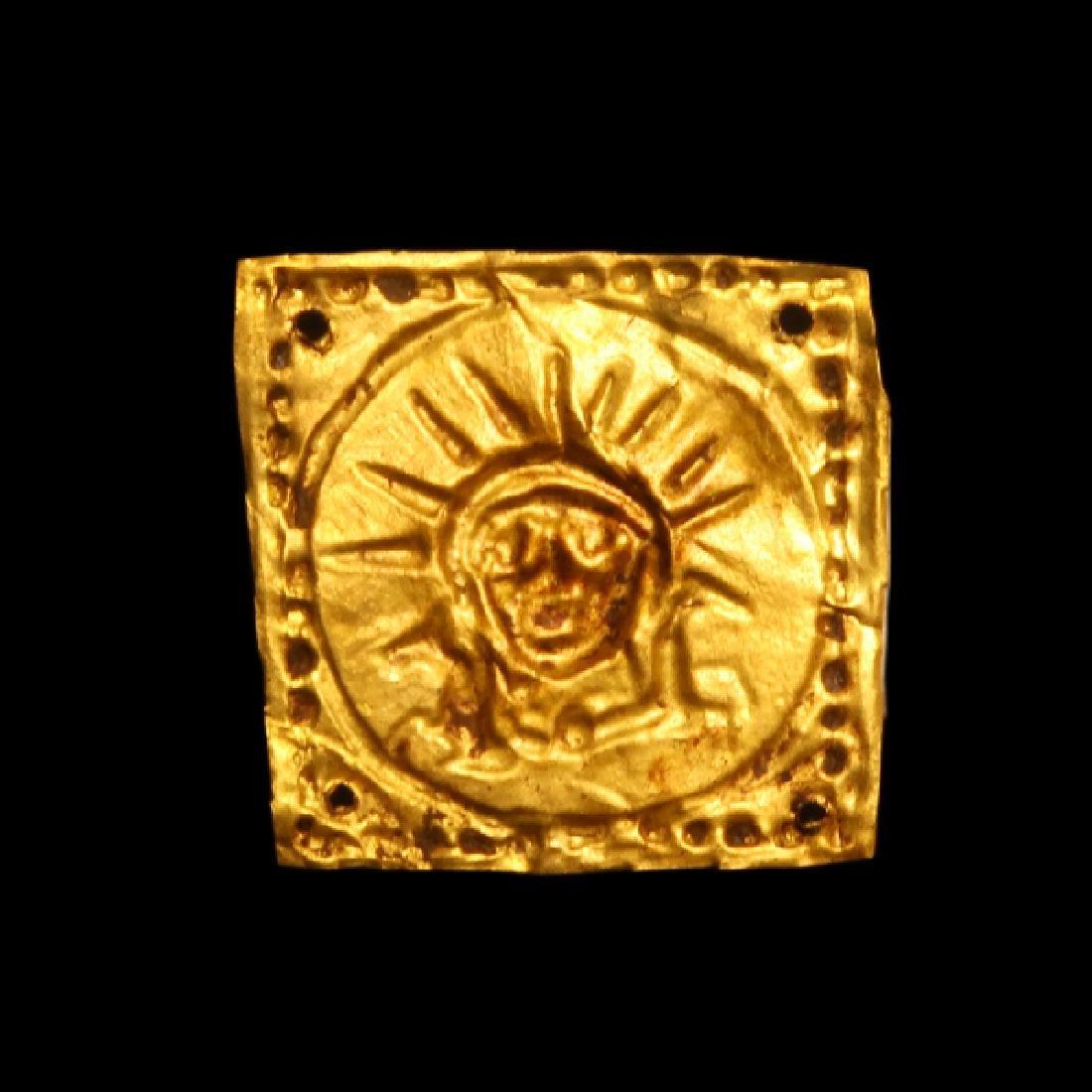 Greek Gold Ornament Plaque Helios Horses 5th C BC - 2