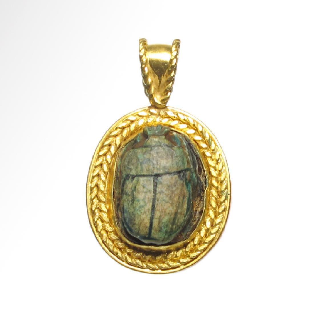 Egyptian Good Wish Scarab Ankh 18k Modern Gold Pendant