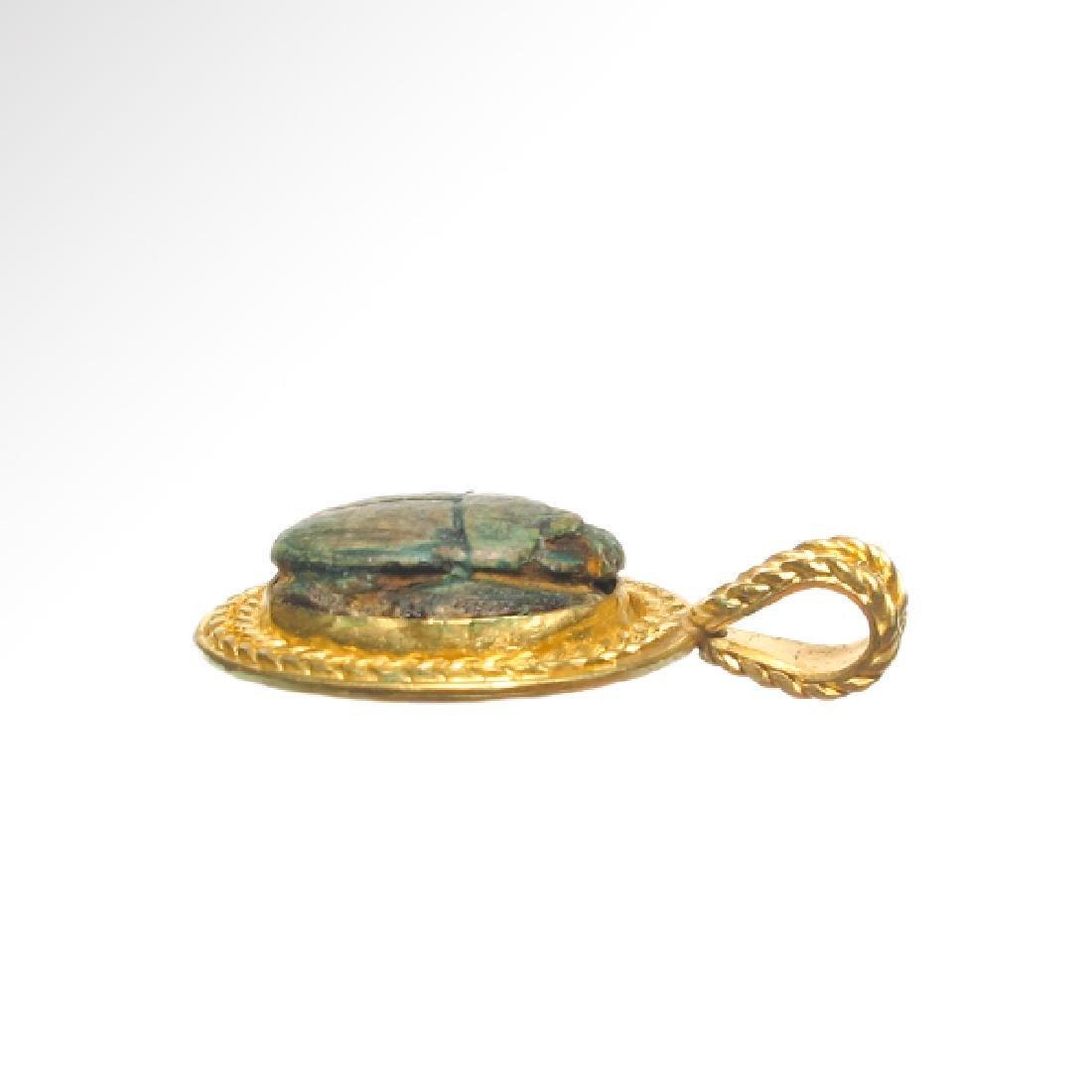 Egyptian Good Wish Scarab Ankh 18k Modern Gold Pendant - 4