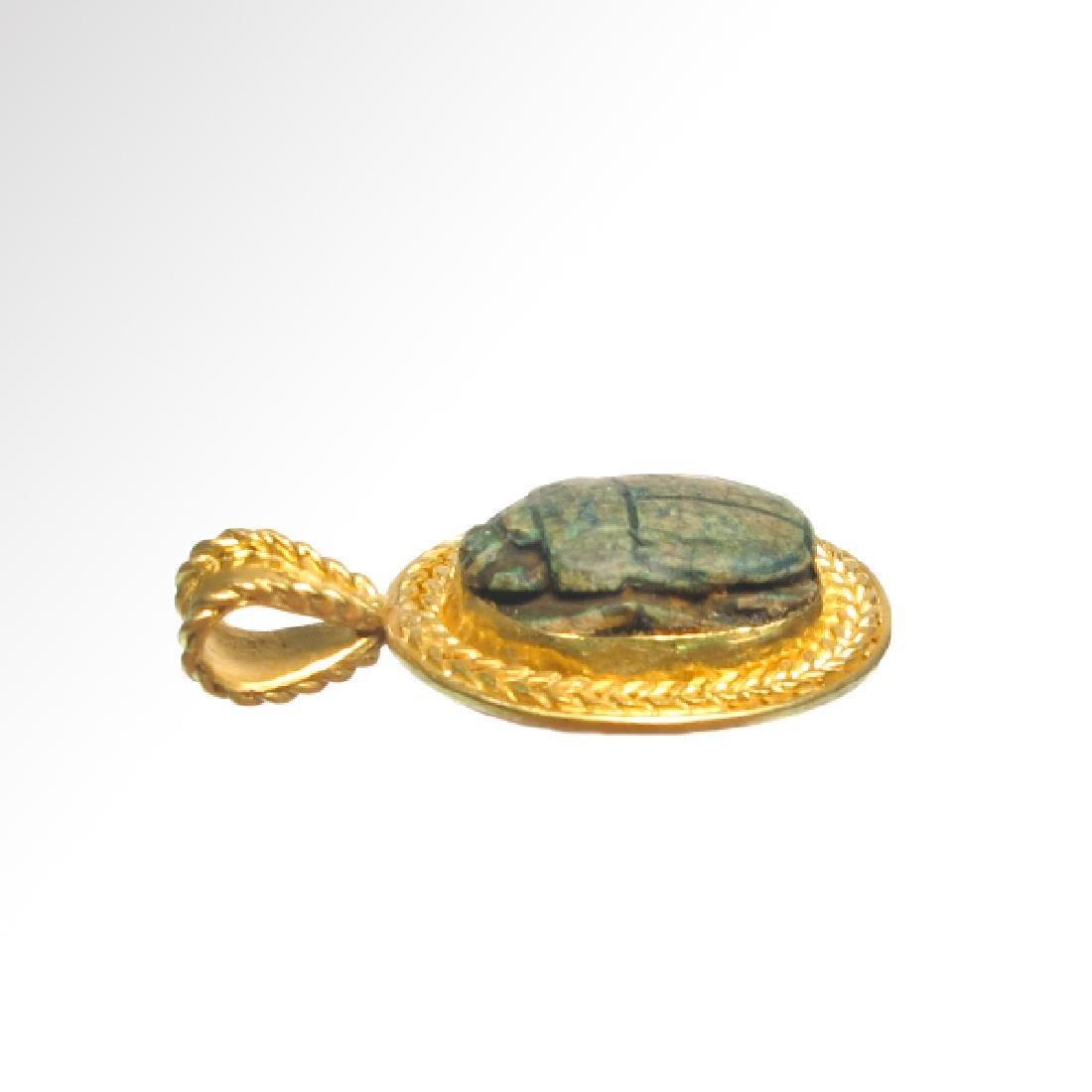 Egyptian Good Wish Scarab Ankh 18k Modern Gold Pendant - 5