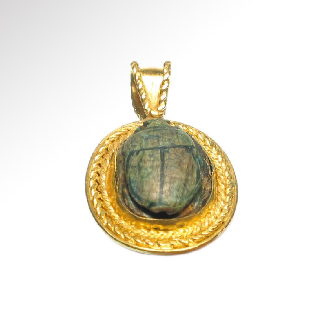 Egyptian Good Wish Scarab Ankh 18k Modern Gold Pendant - 6