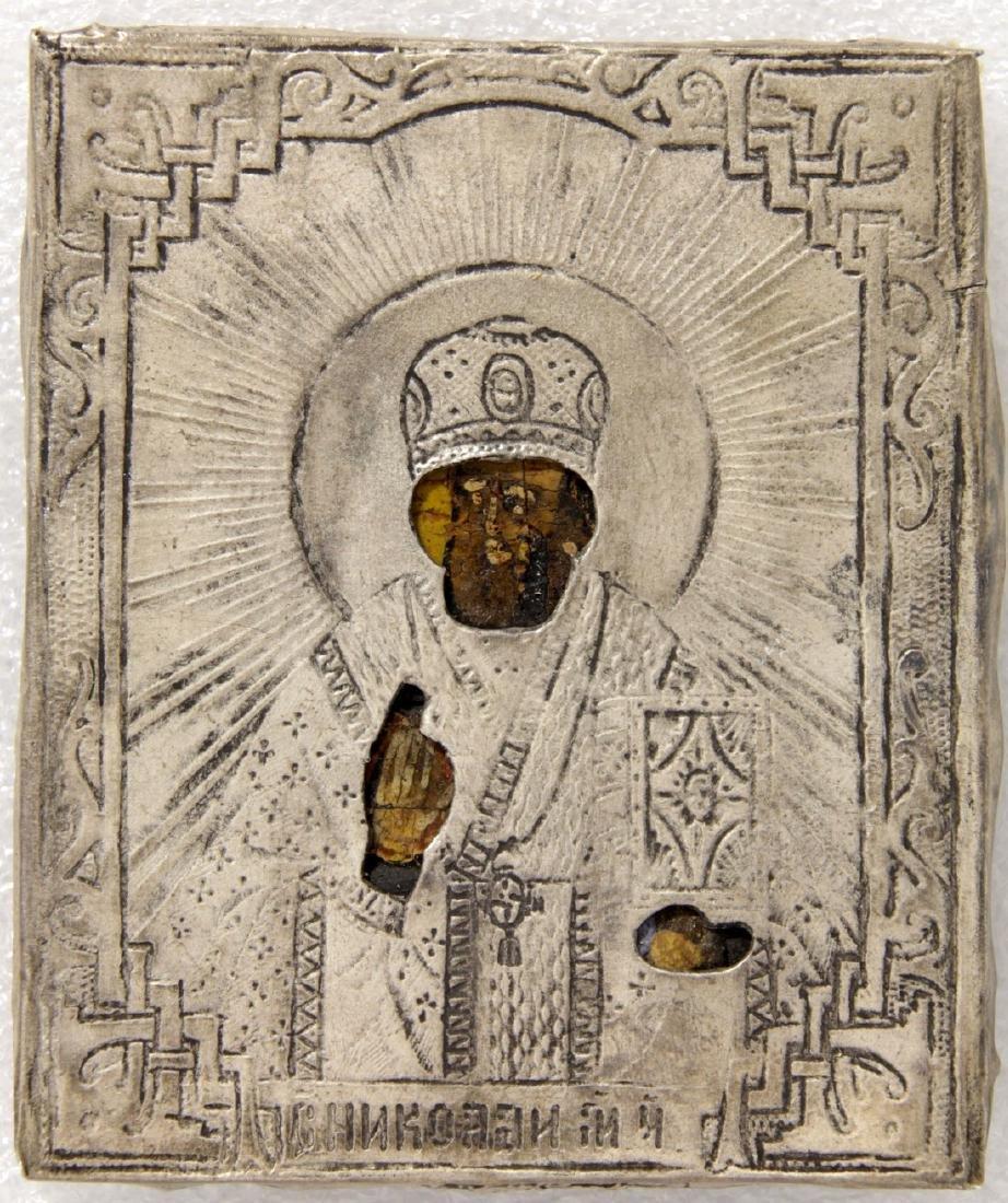 Saint Nicholas in silver oklad,silver 84 Stamped