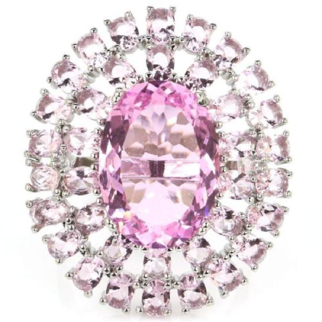 Pink Kunzite, Silver Ring Us sz8.5