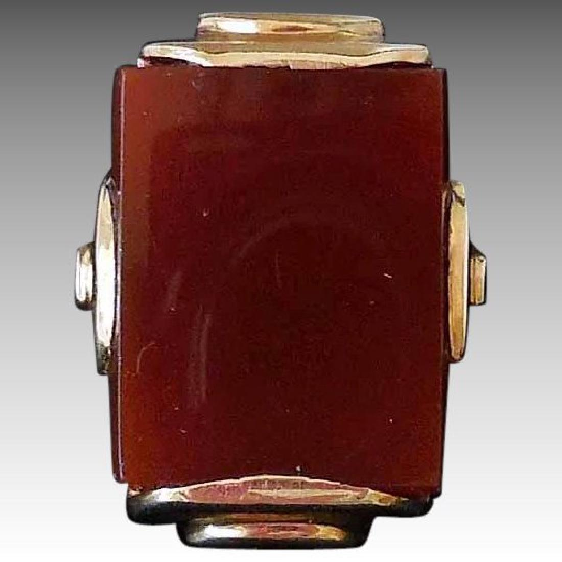 14K Gold & Carnelian Art Deco Ring