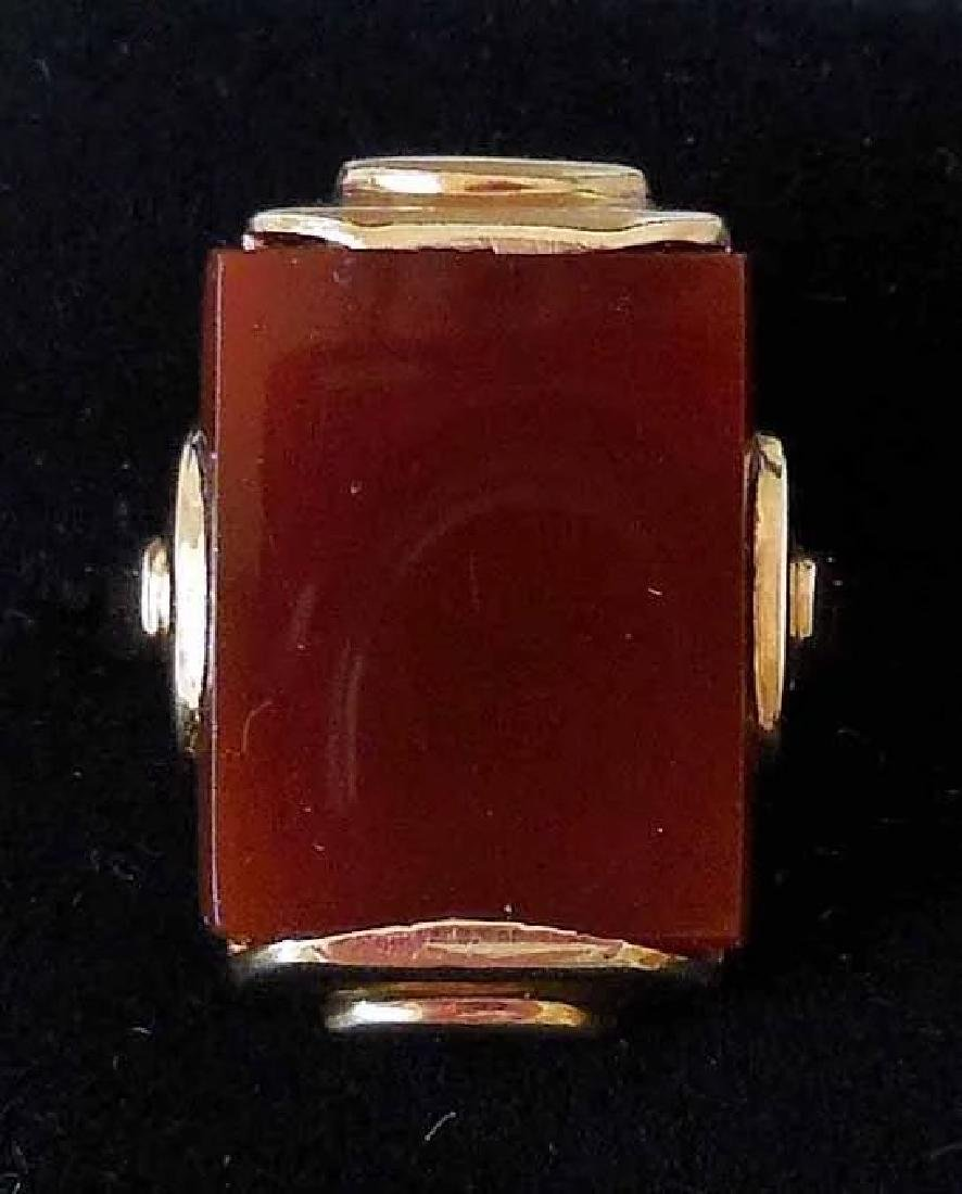 14K Gold & Carnelian Art Deco Ring - 2