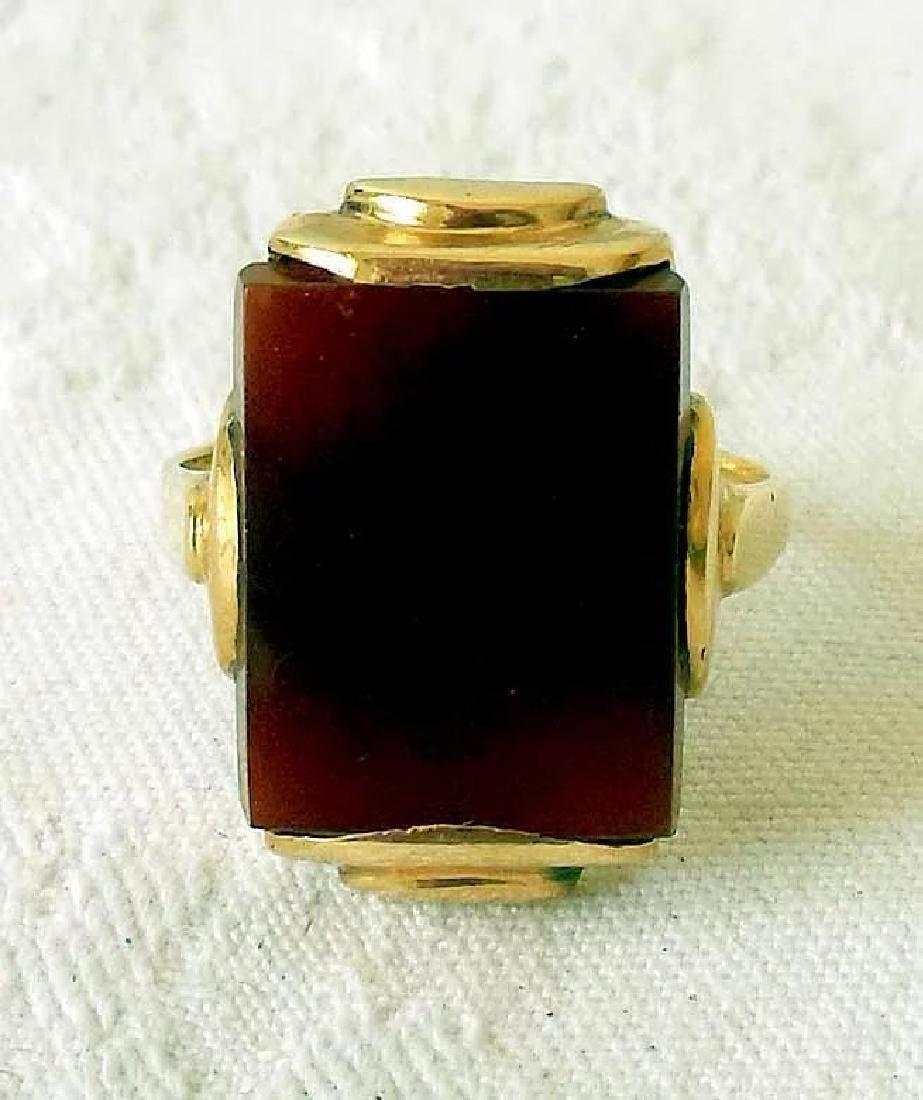 14K Gold & Carnelian Art Deco Ring - 5
