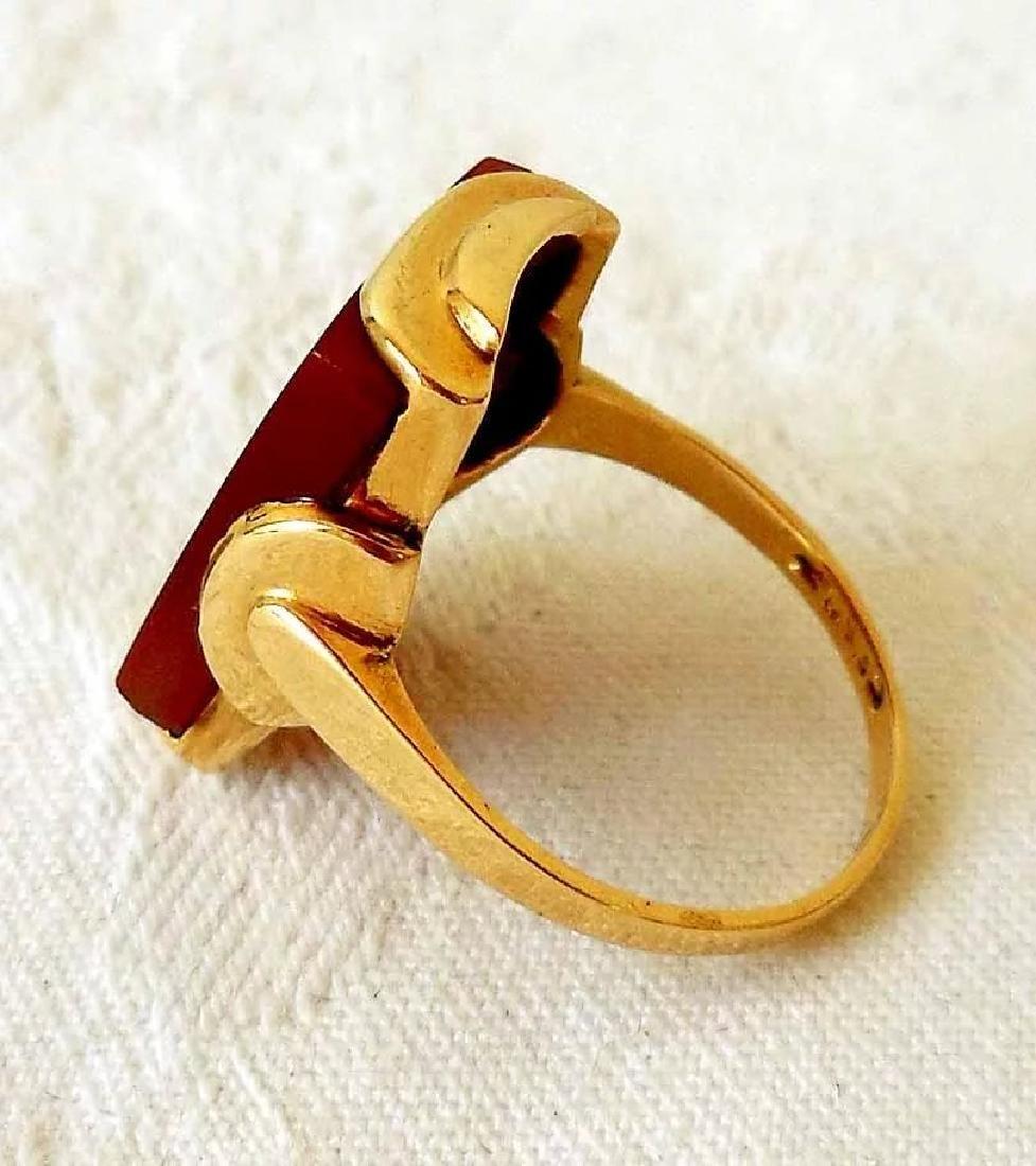 14K Gold & Carnelian Art Deco Ring - 6