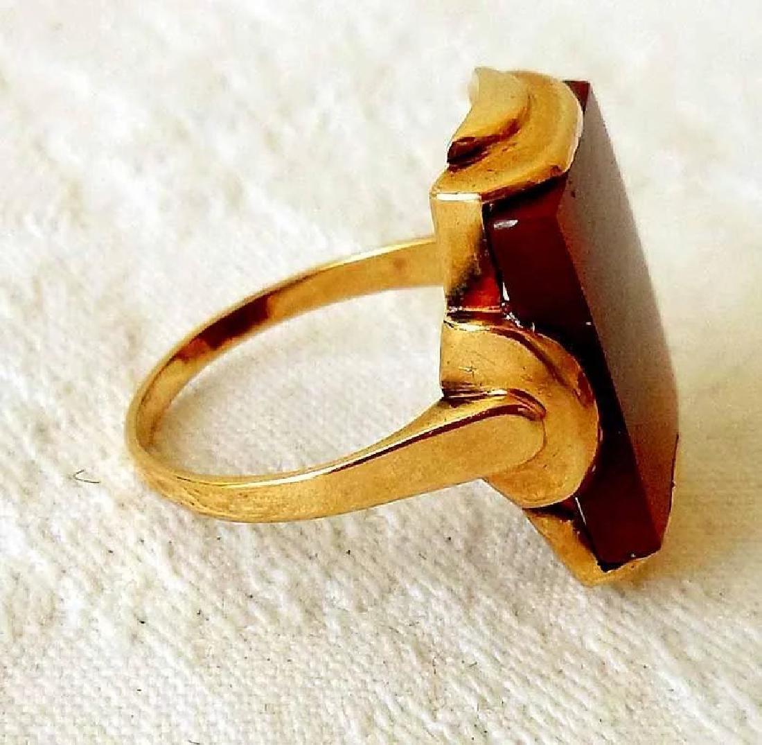 14K Gold & Carnelian Art Deco Ring - 7