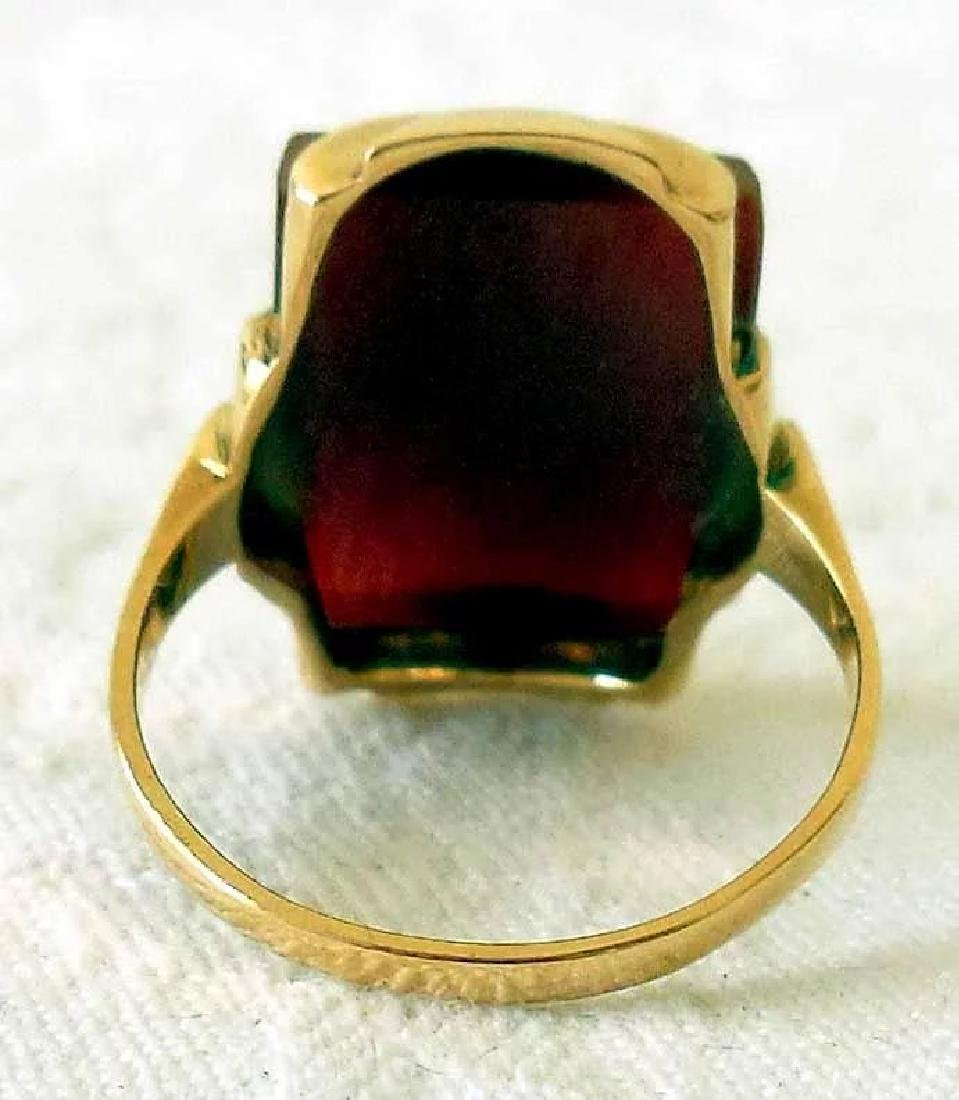 14K Gold & Carnelian Art Deco Ring - 8