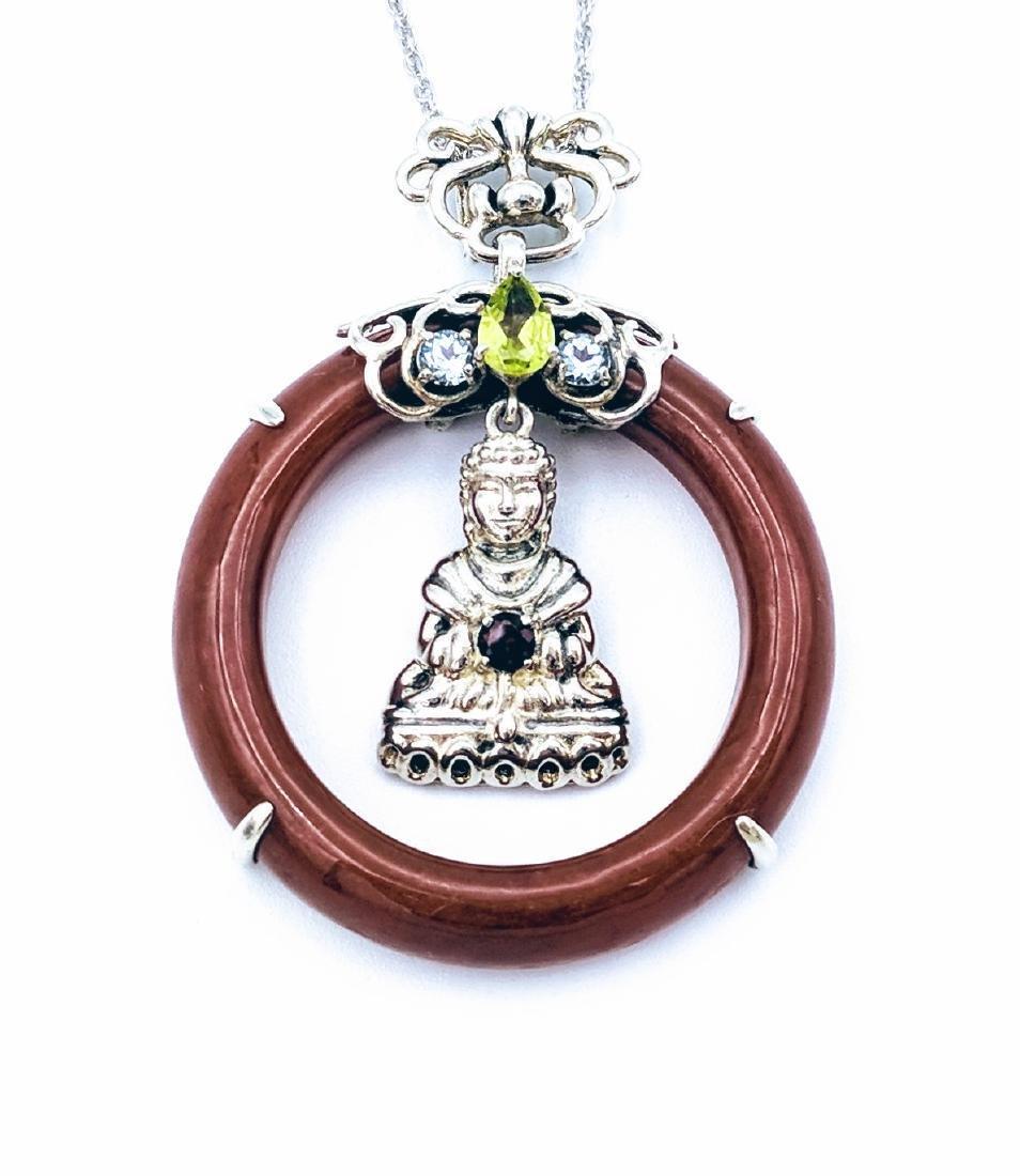 Sterling Silver Jasper Garnet Peridot Buddha Necklace