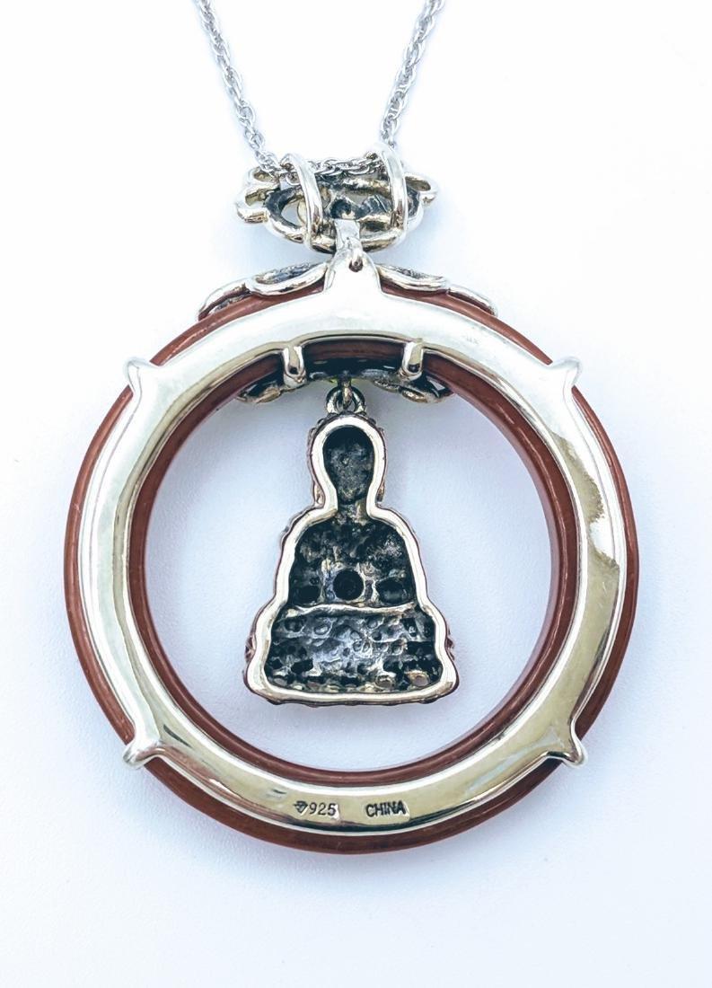Sterling Silver Jasper Garnet Peridot Buddha Necklace - 2