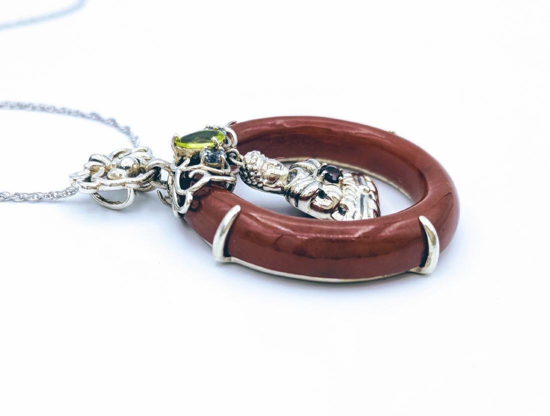 Sterling Silver Jasper Garnet Peridot Buddha Necklace - 3