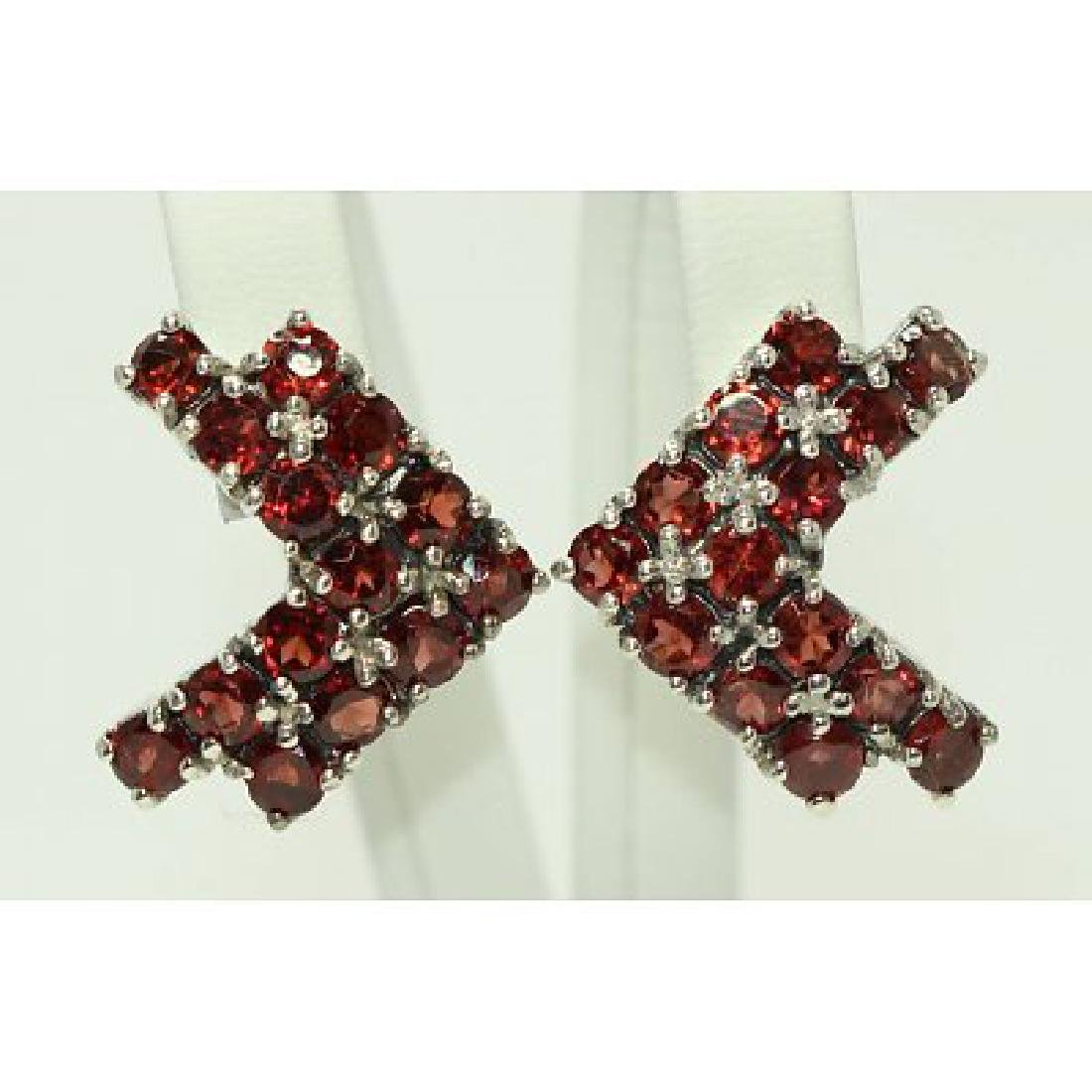 Sterling silver earings with natural Garnet
