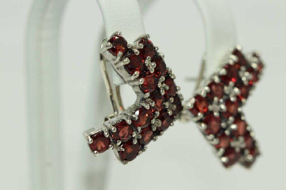 Sterling silver earings with natural Garnet - 3