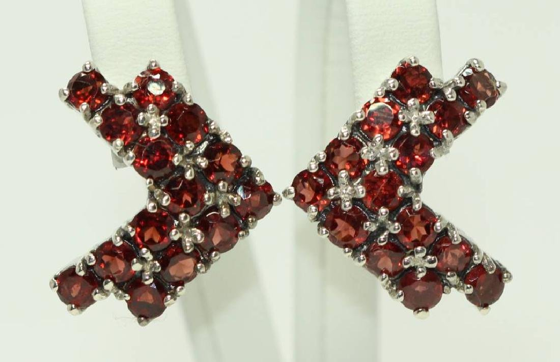 Sterling silver earings with natural Garnet - 4