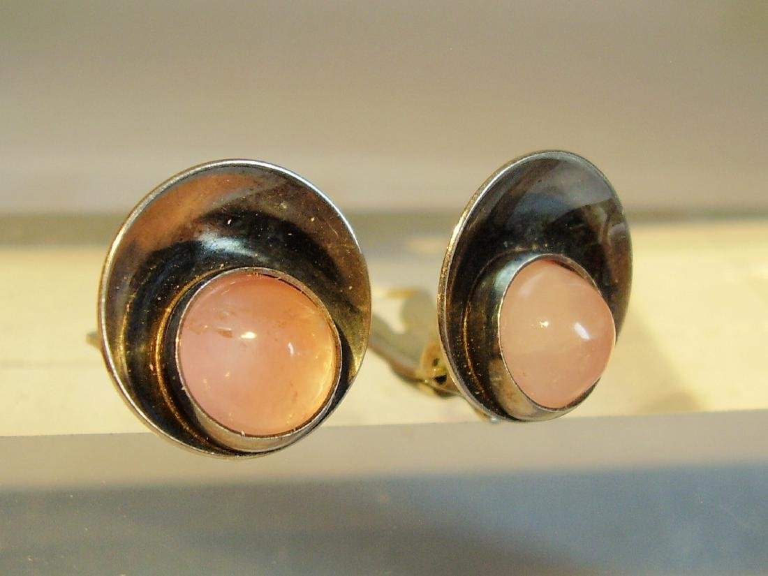 Silver Earclips with Rose Quartz - 2