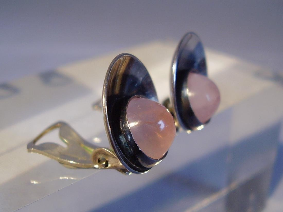 Silver Earclips with Rose Quartz - 3